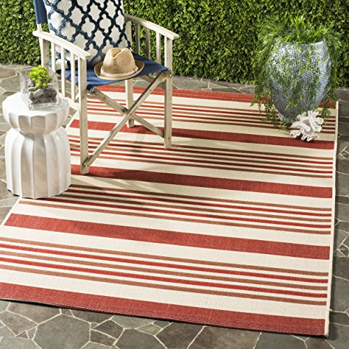 Safavieh Courtyard Collection CYL7062-238A Beige and Red Indoor/ Outdoor Area Rug 5′ x 8′
