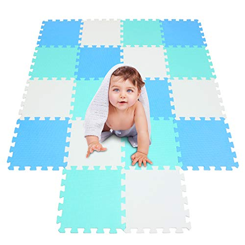 meiqicool Playspot Foam Play Mat for Baby, Grey/Cream,White,Blue and Green 55.9″ X 44.9″101107108
