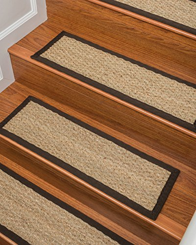 Natural Area Rugs 100% Natural Fiber Half Panama, Seagrass Sage, Handmade Stair Treads Carpet Set of 13 9″x29″ Espresso Border