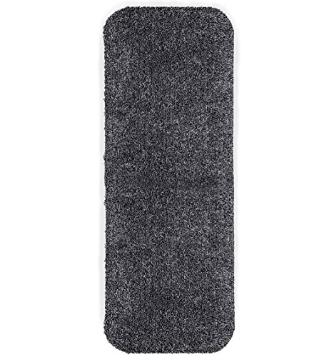 Plow & Hearth Mud Rug Runner, Absorbent Dirt Trapping Machine Washable, Non Slip Indoor Mat, 29 W x 58 L – Charcoal Grey