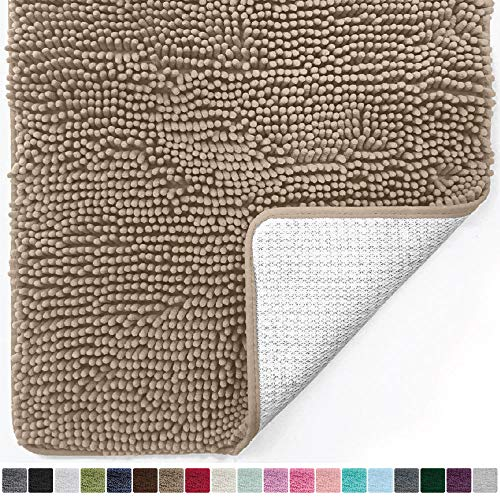 Gorilla Grip Original Luxury Chenille Bathroom Rug Mat 24 x 17, Extra Soft and Absorbent Shaggy Rugs, Machine Wash/Dry, Perfect Plush Carpet Mats for Tub, Shower, and Bath Room Beige