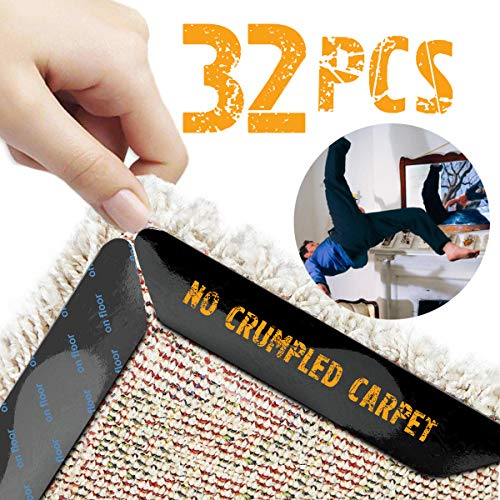 Rug Corner Carpet Tape Rug Pud Anti Curling Rug Grippers 32pcs Non Slip Carpet Gripper for Hardwood Floors Anti Slip Grips Reusable Non Skid Carpet Corners Keeps Your Rugs in Place Makes Corners Flat