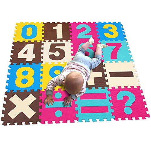 MQIAOHAM Non-Toxic Environmental Mat 16 Piece Children Pay & Exercise Mat Comfortable Cushiony Foam Floor Digital Puzzle Mat for Toddlers or Baby P003BG