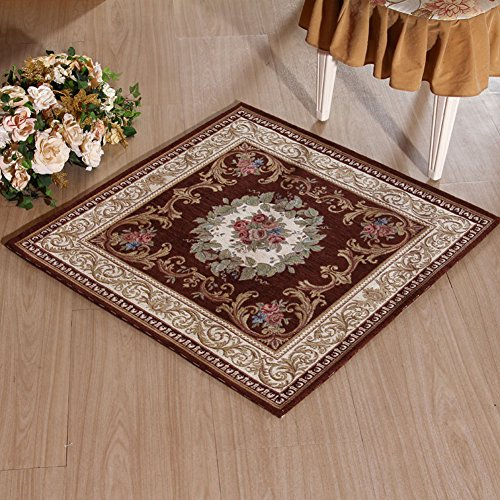 KEYAMA 35.4″x 35.4″Acrylic Non-Slip Carpet Stair Treads Thicken Rectangle Jacquard Parlor Floral Area Rugs Classical doormats Stair Corner Matching Landing Carpet mats 059 Brown