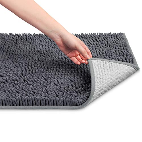 Bathroom Floor Mat, No Slip Microfiber Shag Bathroom Rugs, Extra Soft and Absorbent Shower Mat, Machine Wash/Dry, Perfect for Shower, and Bath Room, 2032-inches Grey