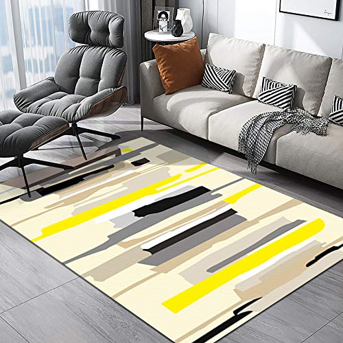 YAMTION Living Room Rugs, 4'x 6 Modern Multi-Function Area Rugs Collection, Non Slip Abstract Striped Yellow Soft Shaggy Carpet, Indoor Bedroom Rugs in Nursery, Dining Room, Office, Dormitory