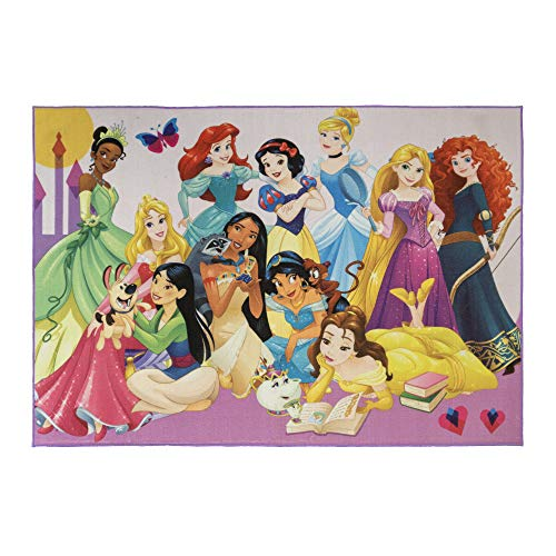 Gertmenian Disney Princess Rug Kids Party Carpet, 5×7 Large, Rainbow