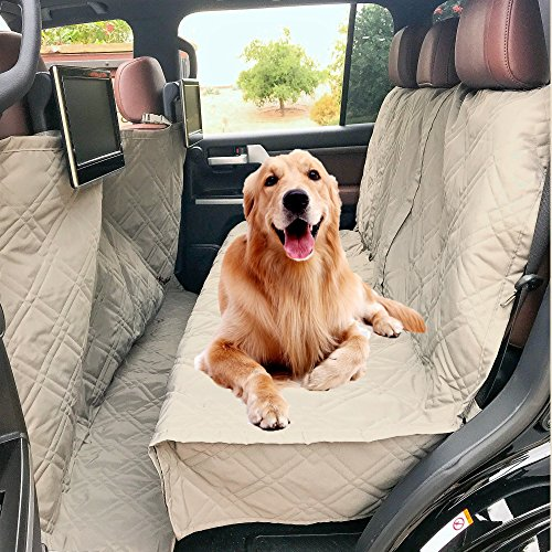 Universal Fit 56″ Wx94 L, Taupe – Travel with Your Pet Mess Free – Formosa Covers Quilted and Padded Dog Pet Car Seat Cover with Comforting Fabric and Non-Slip Backing Best for Car Truck and SUV