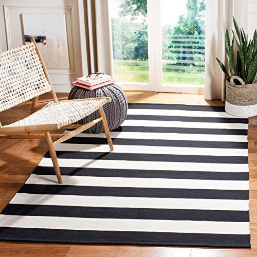 Safavieh Montauk Collection MTK712D Handmade Flatweave Black and Ivory Cotton Area Rug 3′ x 5′