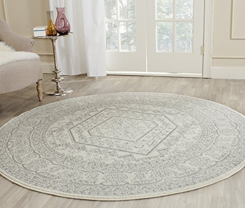Safavieh Adirondack Collection ADR108B Ivory and Silver Oriental Vintage Medallion Round Area Rug 4′ Diameter