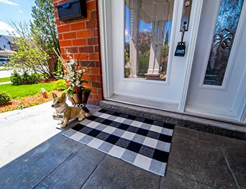 23.6″x35.4″ Checkered Door Mat for Layering w/Welcome Mat – Buffalo Check Door Mat Outdoor – The Original Outdoor Porch Rug – Buffalo Plaid Door Mat/Black and White Door Mat/Buffalo Plaid Rug Outdoor