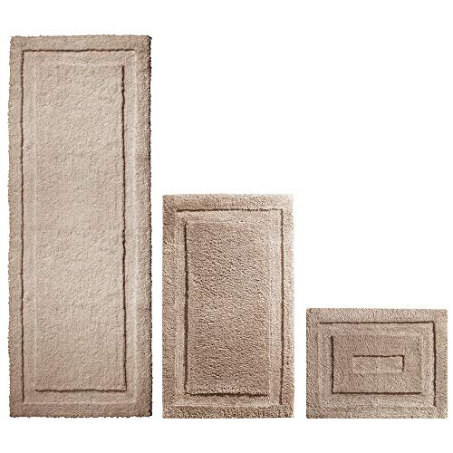 Set of 3 – Linen/Tan – Water Absorbent, Machine Washable – mDesign Soft Microfiber Polyester Spa Rugs for Bathroom Vanity, Tub/Shower – Includes Plush Non-Slip Rectangular Accent Rug Mats in 3 Sizes