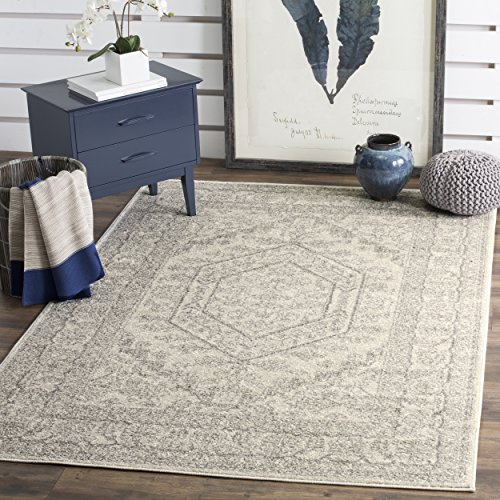 Safavieh Adirondack Collection ADR108B Ivory and Silver Oriental Vintage Medallion Area Rug 4′ x 6′