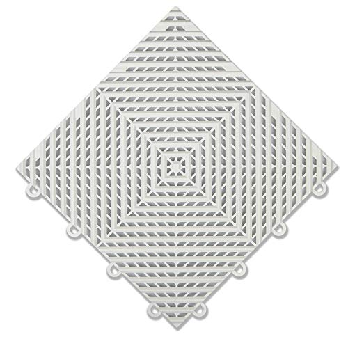 IncStores Nitro Garage Tiles 12″x12″ Interlocking Garage Flooring 52-12″x12″ Tiles, Vented Arctic White