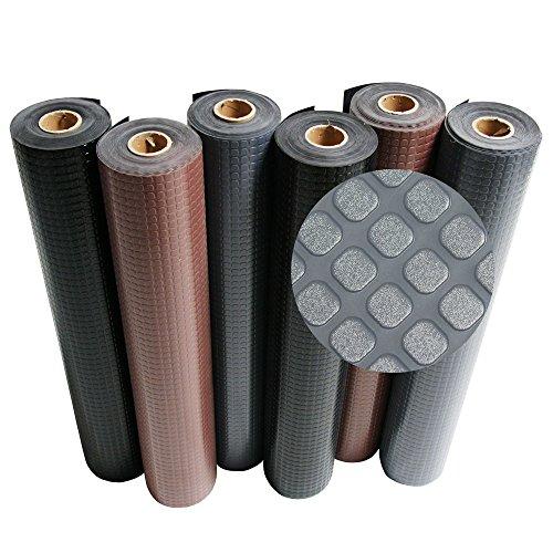 Rubber-Cal Block-Grip Rubber Runner Mat – Dark Gray – 2mm x 4ft x 7ft Rubber Rolls
