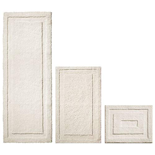 Set of 3, Cream – mDesign Soft Microfiber Non-Slip Bathroom Mat/Rug for Bathroom, Vanity, Bathtub/Shower, Dorm Room