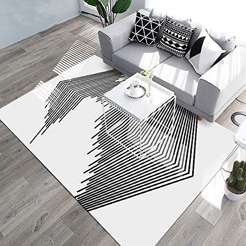 YAMTION Living Room Rugs, 5.3'x 8 Modern Multi-Function Area Rugs Collection, Non Slip Abstract Striped Black Soft Carpet, Indoor Bedroom Rugs in Nursery, Dining Room, Office, Dormitory