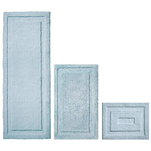 Set of 3, Water Blue – mDesign Soft Microfiber Non-Slip Bathroom Mat/Rug for Bathroom, Vanity, Bathtub/Shower, Dorm Room