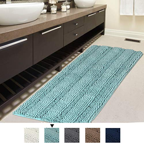 Eggshell Blue – Bath Rug Runner Slip-Resistant Washable Striped Pattern Large Chenille Shaggy Bath Mat Runner Extra Soft and Absorbent Indoor Bath Mat for Bathroom, 47 inch by 17 inch