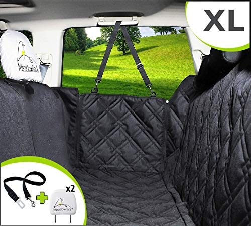 Meadowlark XL Dog Seat Covers Unique Design & Full Car Protection-Doors,Headrests & Backseat. Extra Durable Zippered Side Flap, Waterproof Pet Seat Cover + Seat Belt & 2 Headrest Protectors as a Gift