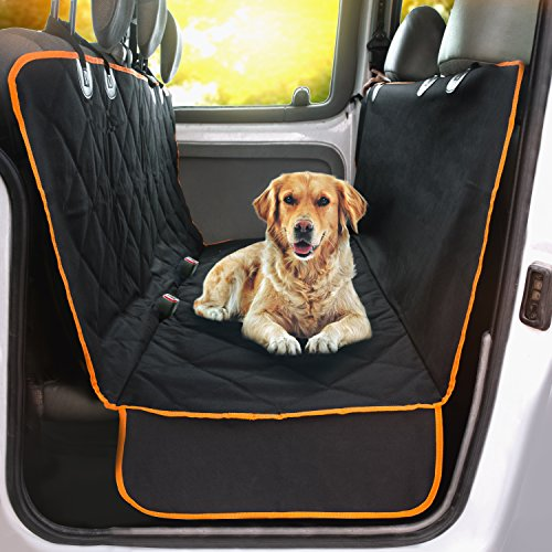 Machine Washable – XL Cars, Trucks and Suvs Luxury Full Protector, w/Extra Side Flaps, Seat Belt Openings – Doggie World Dog Car Seat Cover – Waterproof, Non-Slip – Hammock Convertible for Your Pet