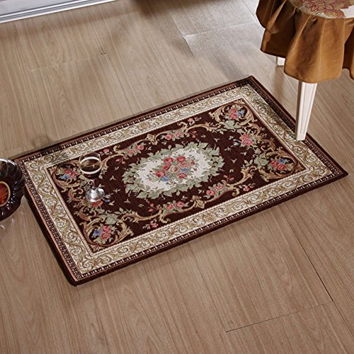 KEYAMA 32″x 20″Acrylic Non-Slip Carpet Stair Treads Thicken Rectangle Jacquard Parlor Floral Area Rugs Classical doormats Stair Corner Matching Landing Carpet mats 059 Brown