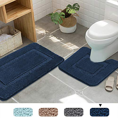 Non Skid Bathroom Rugs Toilet Sets Thick Super Soft Absorbent Tufted Bath Mats for Bathroom Anti Skid Bath Rugs Set, 2 Pack 20″x 32″ and 20″ x 18″ U Shape, Navy Rugs