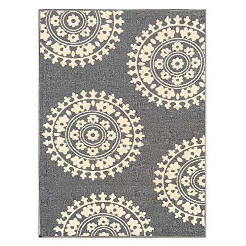 Ivory Medallion Modern Rectangle Rugs 3X5 – 3-feet X 5-feet Non-Skid Rubber Backed Area Rug   Grey