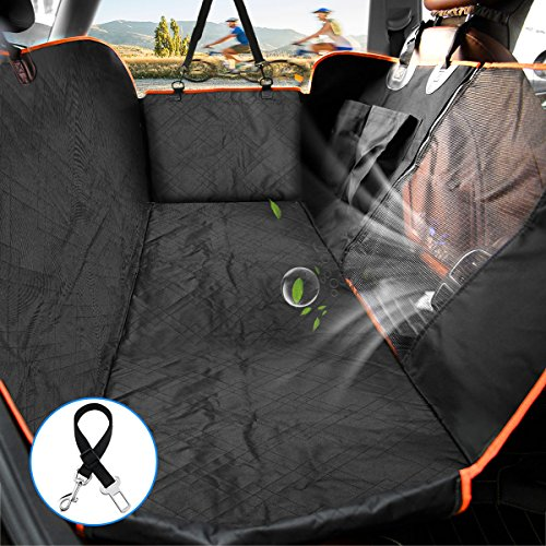 Lantoo Dog Seat Cover, Car Back Seat Cover for Dogs Pets w/Mess Vent Window & Front Zipper, Waterproof Pet Seat Cover Hammock w/Side Flap for Car Truck SUV