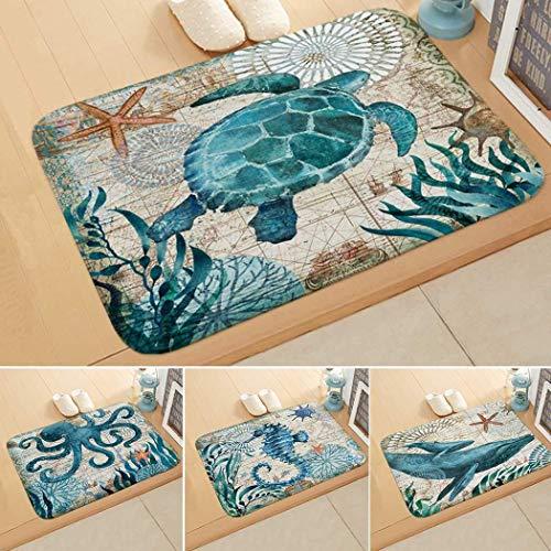 lazinem Floor Mat Print Octopus Door Mat with Hippocampus Pattern Bedroom Bathroom Home Sea Turtle Pattern Absorbent Non-Slip Carpet Mat Area Rugs