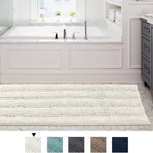 59×20 Inch Large Luxury Ivory Chenille Striped Bath Mat Soft Shaggy Bathroom Rugs Non-Slip Kitchen Rugs Microfiber Washable Water Absorbent Bath Rug Runners for Floor Bathroom Bedroom