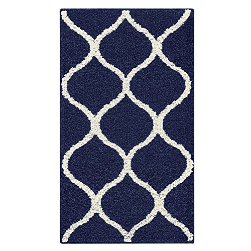 Rebecca 1'8 x 2'10 Non Skid Small Accent Throw Rugs Made in USA for Entryway and Bedroom, Navy Blue/Cream – Maples Rugs Kitchen Rug