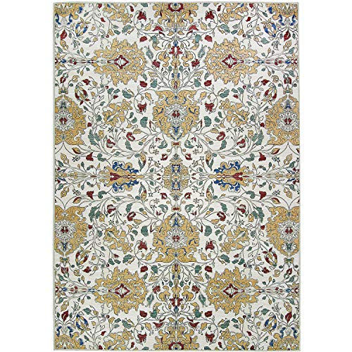 RUGGABLE Washable Indoor/Outdoor Stain Resistant 5'x7′ 60″x84″ Area Rug 2pc Set Cover and Pad Traditional Floral Cream