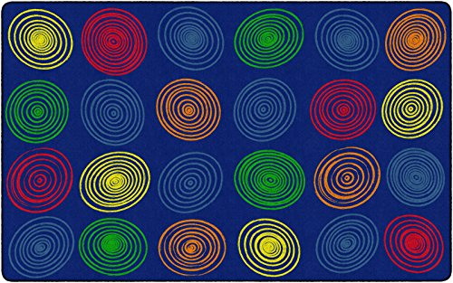 Flagship Carpets FE412-44A Circles Primary Seats 24, Children's Classroom Seating Rug, Rectangle, 7'6″x12′