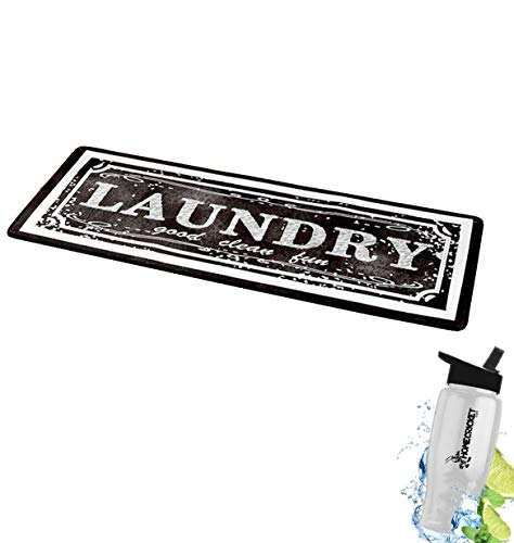 Gift Included- Decorative 52″ Black & White Laundry Room Rug and Decor Runners for Hardwood Floors + Free Bonus Water Bottle by Home Cricket