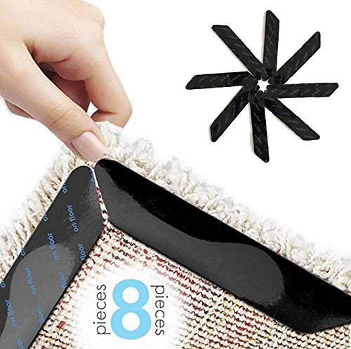 Works on Most Floors – 8 Pack – Slick Solutions Anti Slip Rug Gripper for Hardwood Floors – Rug Corner Grippers