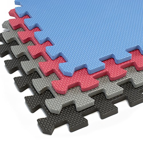 Interlocking Foam Mats With Borders   Thick EVA Exercise Flooring   Soft & Non Toxic Kids Play Tiles   Puzzle for Children & Baby Room   Yoga Squares Babies Garage Gym Fitness Board Gray
