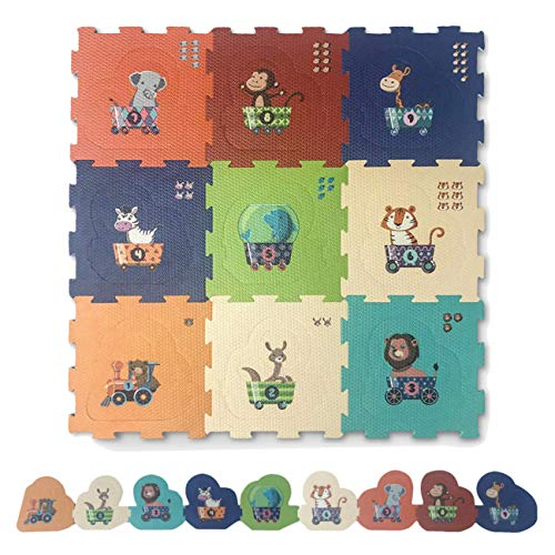 Educational Multicolor Foam Jigsaw Puzzle Playing Baby Floor Mats Animal Train – 2 in 1 Baby Playmat for Toddlers, Kids – Red Suricata Baby Play Mats for Infants