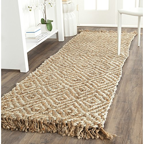 Safavieh Natural Fiber Collection NF450A Hand Woven Natural and Ivory Jute Runner 2'6″ x 6′