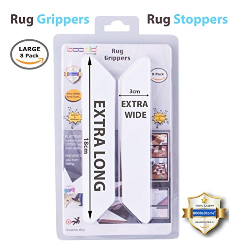 Holds Your Rug in Place & Keeps Corners Flat. Non Slip Rug Stopper, Rug PAD & Rug Gripper with Renewable Rug Tape. Non Slip Mat, Premium 8 pcs – Rug Grippers, Carpet Grippers