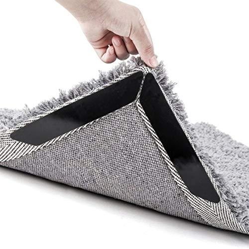 LIN-TOP Rug Gripper Large Size, Anti-Curling & Anti-Slip Carpet Tape. Makes Rug Corner Flat & Keep Carpet in Place, Ideal Alternative to Rug Pad and Carpet Pad 8 PCS