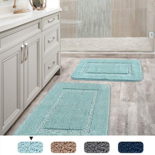 H.VERSAILTEX Super Soft Tufted Bath Mat Floor Rugs Machine Washable Bath Rugs Set for Bathroom/Kitchen Water Absorbent Bedroom Area Rugs Pack 2-20″ x 32″/17″ x 24″ Eggshell Blue