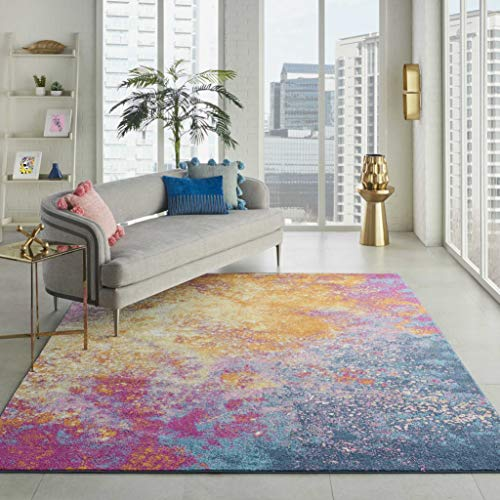 Nourison  Passion Modern Abstract Colorful Sunburst Area Rug, 8′ x  10′