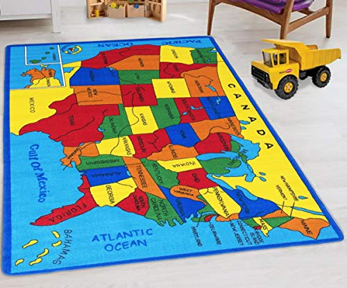 United States Map Educational Kids Rugs Non-Slip School RugsApproximate 8 ft. by 10 ft. – Handcraft Rugs