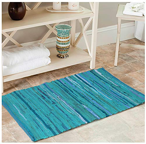Tonal Cotton CHINDI Rug 24X36 Teal