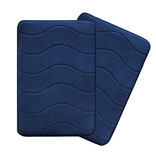 Flamingo P Microfiber Memory Foam Fieldcrest Luxury Bath Rugs Ultra Soft Floor Mats Tufted Bath Rug Non-Slip Backing Microfiber Door Mat, 17-Inch by 24-Inch, Navy Waved Pattern, Two Pieces