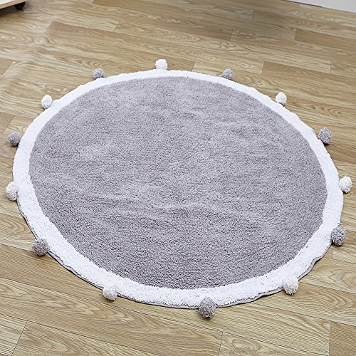 Wonder Space Handmade Round Nursery Rug – Cute Baby Crawling Mat, 100% Cotton With Pom Poms Design, Best Play Mat For Kids Room & Teepee Tent Decor Grey/White