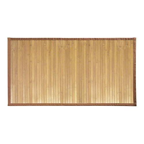 InterDesign Formbu Bamboo Floor Mat Non-Skid, Water-Resistant Runner Rug for Bathroom, Kitchen, Entryway, Hallway, Office, Mudroom, Vanity, 34″ x 21″, Set of 2, Natural Wood
