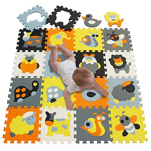 meiqicool Baby Play Mat Foam Puzzle Floor Playmat for Infants,Children Kids Tummy Time Crawling Sit Interlocking Square Non Toxic 18 Piece Mat P011011