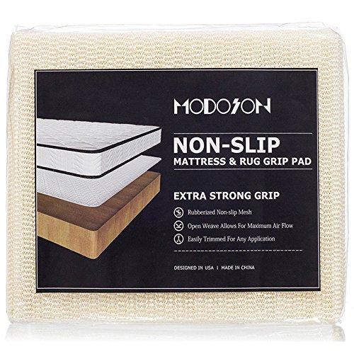 Full Size 52.5″ x 74″ 4.4'x 6.2′ – MODOSON Non Slip Mattress Grip Pad, Couch Pads, Rug Pad Gripper, Sofa Pads, Furniture Pads, Kitchen Mat, Mattress Gripper Extra Strong Mattress Liner